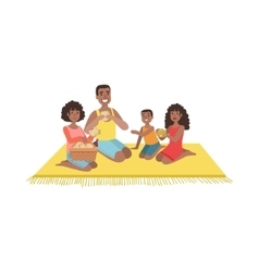 Family with two kids on picnic vector