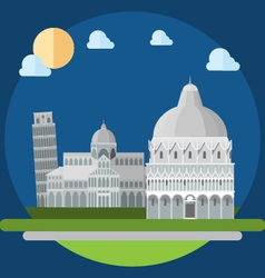 Flat design of piza square buildings vector image