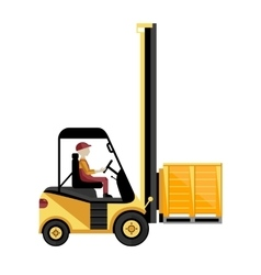 Forklift truck with boxes on pallet vector