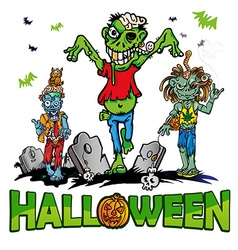 halloween background with zombie vector image