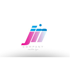 jn j n alphabet letter combination pink blue bold vector image