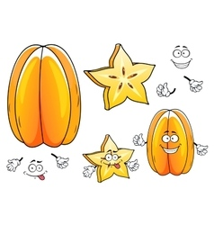 Juicy tropical carambola fruit cartoon characters vector image