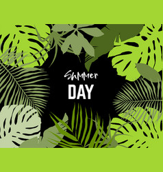 Landscape frame tropical leaves vector