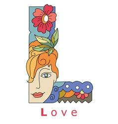 Letter l love vector