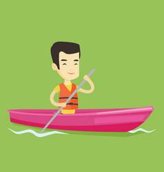 Man riding in kayak vector