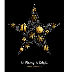 Merry christmas gold star decoration ornament vector