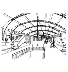 Monochrome sketch with railway station black and vector