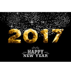 New Year 2017 gold low poly greeting card design vector image vector image