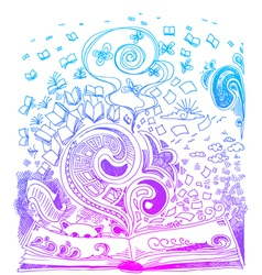 Open book sketchy doodles vector image