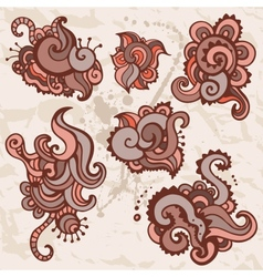 Ornamental flowers set indian style vector