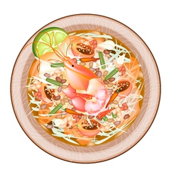 Plate of Green Papaya Salad with Shrimps vector image