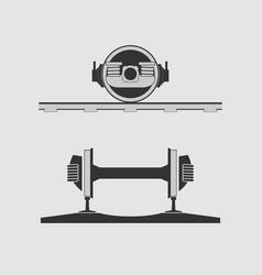 Rail car wheels vector