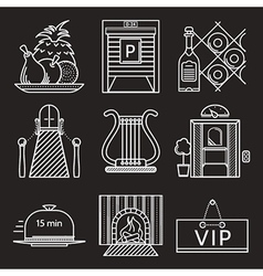 Restaurant white line icons vector image