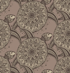 Seamless pattern hand drawn brown doodle turtles vector