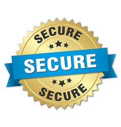 Secure 3d gold badge with blue ribbon vector