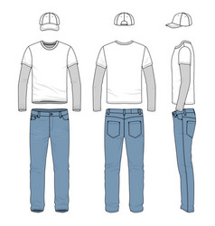 Set of male tee jeans baseball cap vector