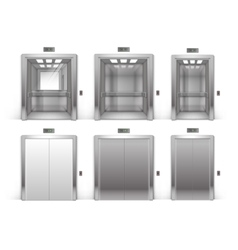 Set of open closed metal office building elevator vector