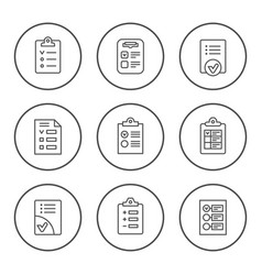 set round line icons of checklist vector image vector image