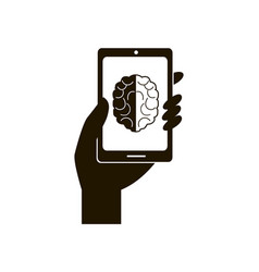 smartphone and brain icon vector image vector image