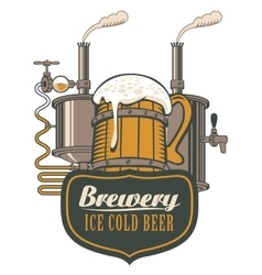 Wooden circle of beer and brewing machine vector