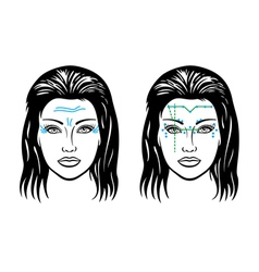 Wrinkles on a womans face vector