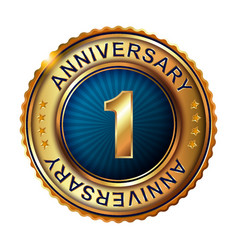 1 years anniversary golden label vector image vector image