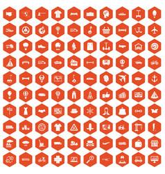 100 logistics icons hexagon orange vector image vector image