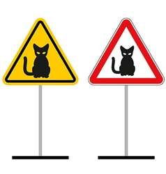 Warning sign attention cats hazard yellow sign a vector