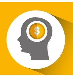 Silhouette head with icon currency money yellow vector