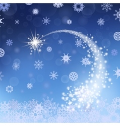 Blue winter background falling star vector