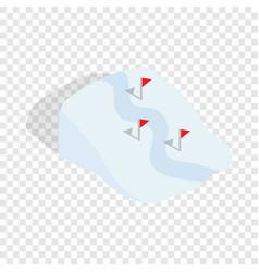Ski route isometric icon vector