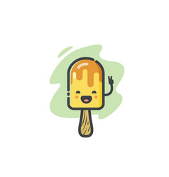 funny banana ice cream icon vector image