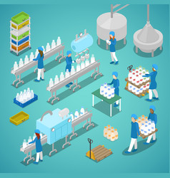 Milk factory automated production isometric vector