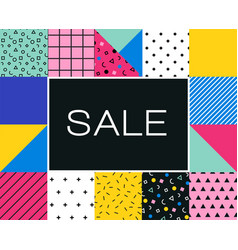 Sale poster with memphis colorful geometric design vector
