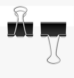 Black metal binder clips vector image