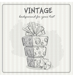 Vintage background with a birthday cake vector