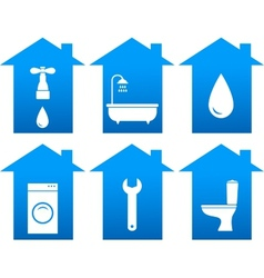 set of bathroom icons with house silhouette vector image