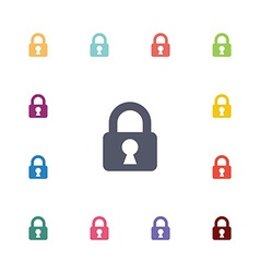 Lock flat icons set vector