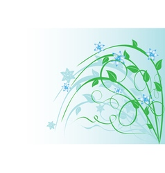 Plant with blue flowers on light blue vector