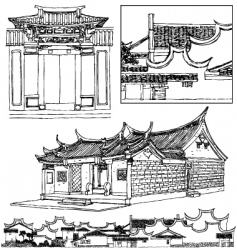 traditional Chinese building vector image