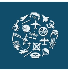 Aviation icons in circle vector