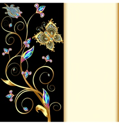 Background with butterflies and ornaments made vector