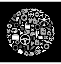 car parts store simple gray-scale icons in circle vector image