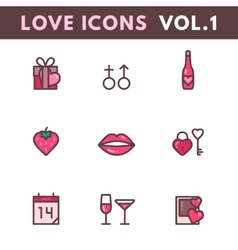 Valentines day and wedding icons vector