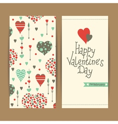Valentine card set with hearts and arrows vector