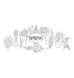 Spring Set Vintage Sketch vector image