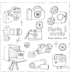 Photo and movie hobby cameras vector