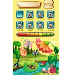 Game template with bugs in the river vector image