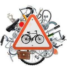 Bicycle spares concept with triangle sign vector