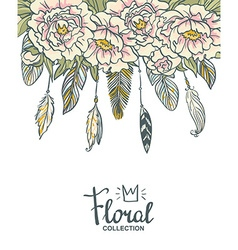 Boho floral wedding invitation pink peonies and vector